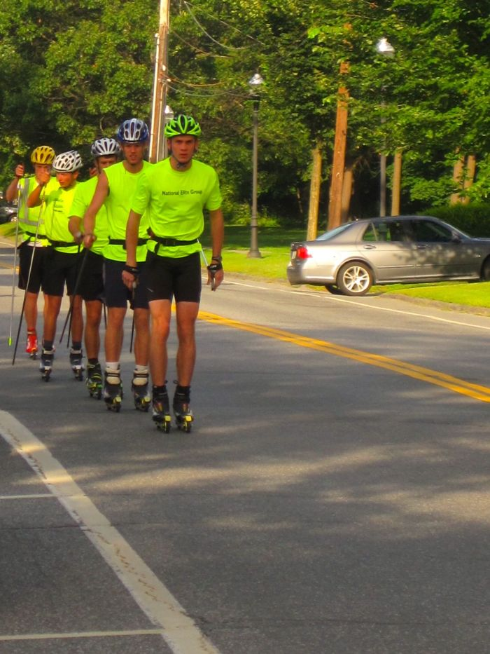 The next ski season will surely come... the Dartmouth ski team rollering down Wheelock Street.